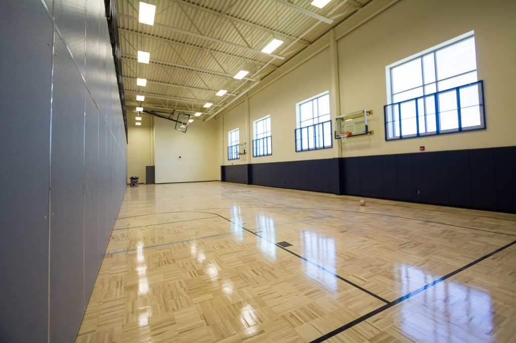 Extra gym space behind bleachers